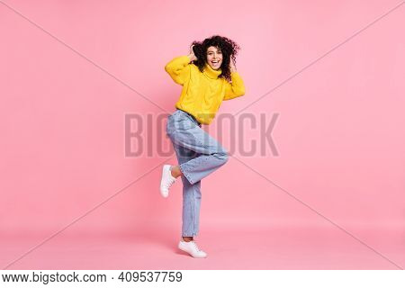 Photo Of Young Excited Hispanic Girl Happy Positive Smile Enjoy New Hairdo Isolated Over Pastel Colo
