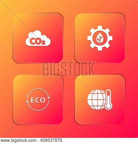 Set Co2 Emissions In Cloud, Leaf Plant Gear Machine, Label For Eco Healthy Food And Global Warming I