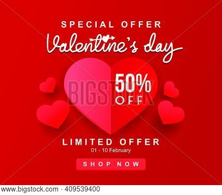 Luxury Realistic Pink Papper Heart Shape For Valentine's Day Promotion Banner Vector Illustration
