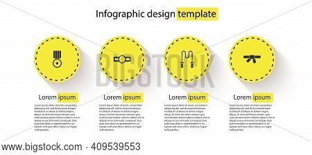Set Medal, Boxing Belt, Jump Rope And Black Karate. Business Infographic Template. Vector