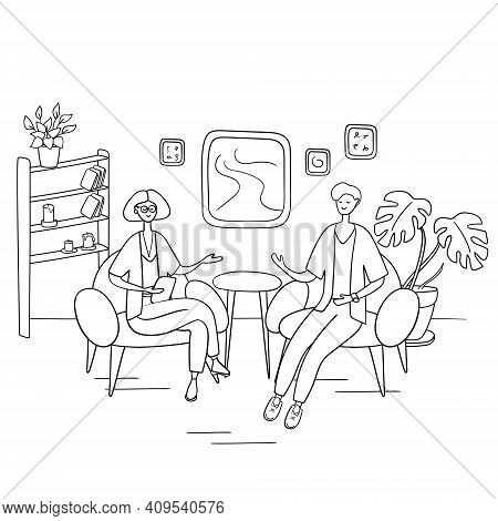 Interview Show. Interviewer Asks Young Man Questions. Two People Sit On Chairs And Talk. Hand Drawn