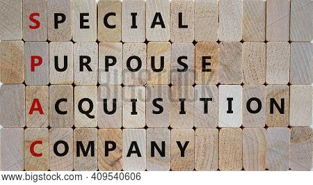 Spac, Special Purpose Acquisition Company Symbol. Wooden Blocks With Words 'spac' On Beautiful Woode