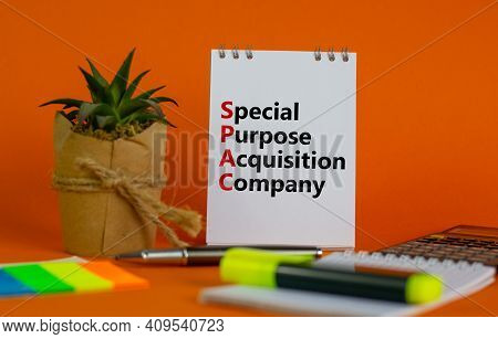 Spac, Special Purpose Acquisition Company Symbol. White Note With Words 'spac' On Beautiful Orange B