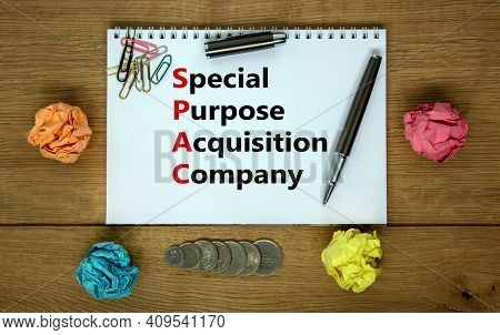 Spac, Special Purpose Acquisition Company Symbol. White Note With Words 'spac' On Beautiful Wooden B