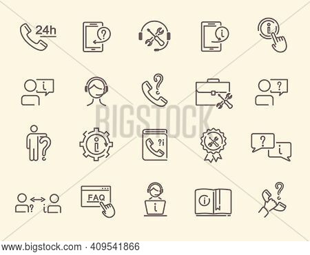 Set Of Help And Support Related Vector Line Icons. Help, Online Help, Technical Support, Faq And Oth