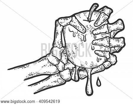 Bony Skeleton Hand Squeezing An Apple. Sketch Scratch Board Imitation.