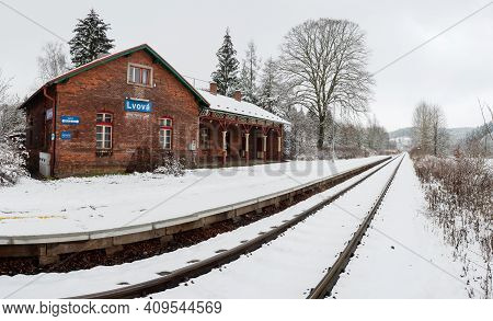 Lvova, Czechia. 10th Ov January 2021.  Historic Single-track Train Station Covered With Fresh Snow D