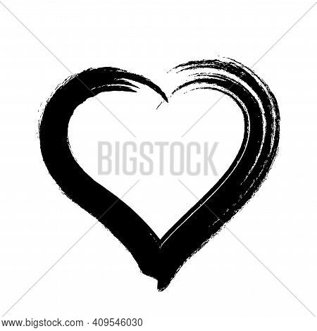 Scribble Heart Shape Sketch Black Color, Hand Drawn Heart Symbol Isolated On White, Heart Shape In P