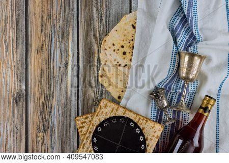 Judaism Religious Jewish Holiday Matza On Passover With Torah Scroll And Cup Kosher Wine