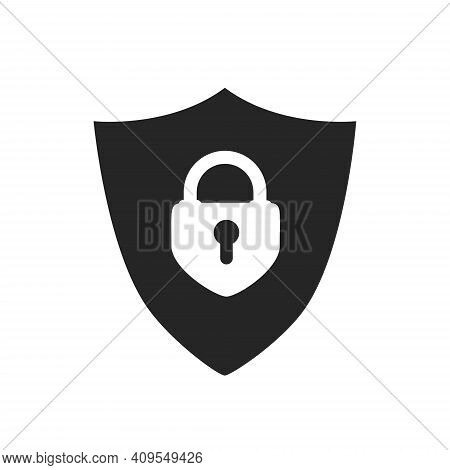 Protection Icon Vector. Padlock Icon. Shield Icon. Shield With A Checkmark In The Middle Protection