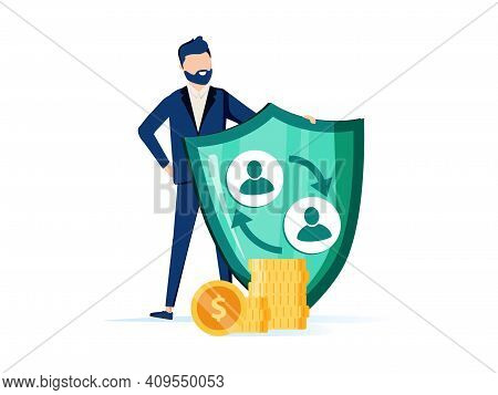 Risk Insurance Abstract Concept Vector Illustration Set. Insurance Broker, Social And Peer-to-peer P