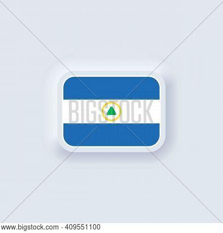 Flag Of Nicaragua. National Nicaragua Flag. Nicaragua Symbol. Vector Illustration. Eps10. Simple Ico
