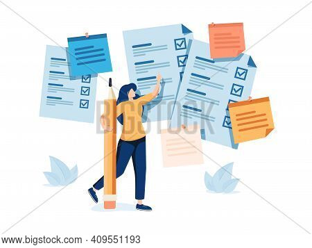 Task Done Female Vector Illustration. Time Management Flat Tiny Persons Concept. Woman Checklist Wit