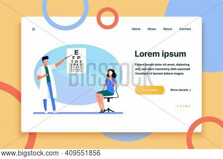 Woman Examining Eyes With Help Of Ophthalmologist. Oculist, Letter, Hospital Flat Vector Illustratio