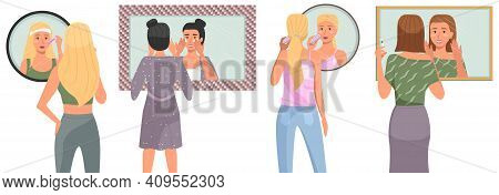 Set Of Illustrations On The Theme Of The Morning Routine. Women Cleanse Their Skin In The Bathroom.