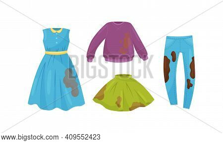 Dirty Clothing With Stains Of Mud For Laundry Vector Set