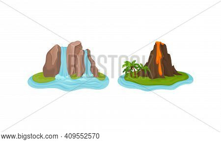 Islands With Waterfall And Volcano Surrounded By Water Vector Set