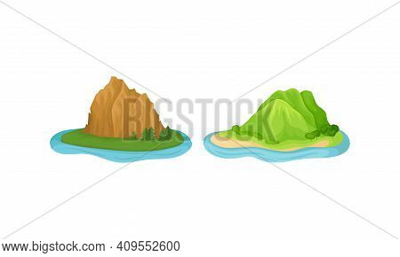 Islands With Green Hill And Massif Surrounded By Water Vector Set
