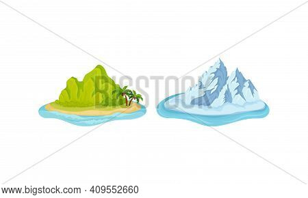 Islands With Green Hill And Iceberg Surrounded By Water Vector Set