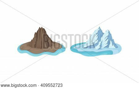 Islands With Rock Massif And Iceberg Surrounded By Water Vector Set
