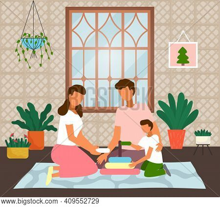 Family Playing With Child. Mother, Father, Son Playing Games Together At Home. Parents Spending Leis