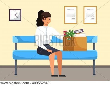 Unhappy Upset Young Business Woman Holds A Box With Her Things And Leaves The Previous Office. Dismi