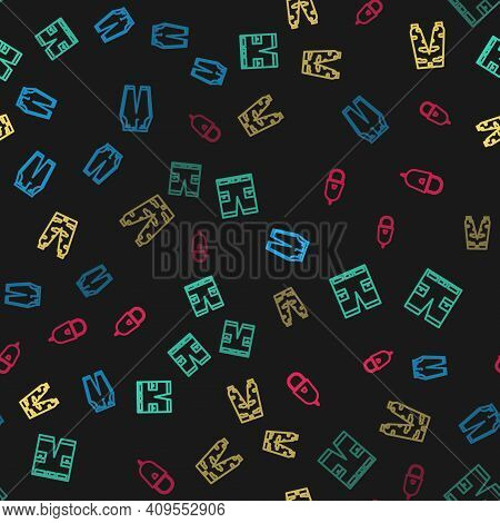 Set Line Pants, Short Or Pants, Camouflage Cargo And Police Cap With Cockade On Seamless Pattern. Ve