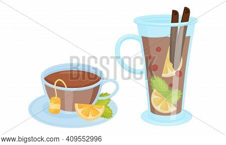 Winter Hot Drinks With Mulled Wine In Glass And Flavoured Tea Vector Set