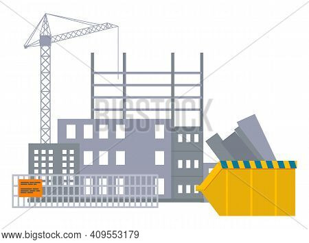 Vector Banner Of Construction Site With Crane And Skyscraper Under Building Object Behind The Fence,