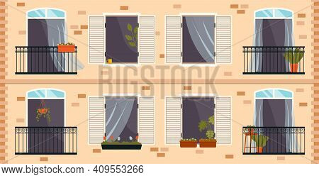 Balcony With Iron Fence With Patterns. Large Window With Potted Plants A Set Of Illustrations. Windo