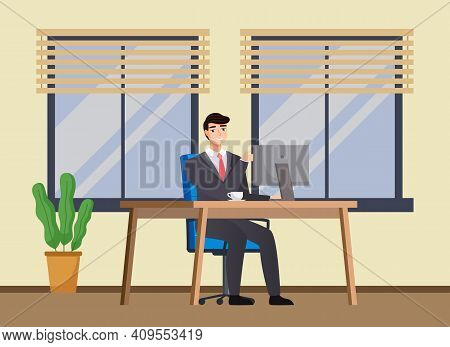 Office Worker At The Table With A Laptop. Smiling Businessman Or A Clerk Working At His Office Workp