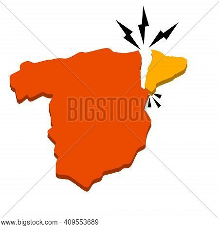 Catalonia On Map Of Spain. Crack In Territorial Structure Of European State. Red-orange Area. Depart