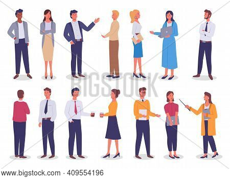 Group Of Business Working People Standing On White Background. Business Man And Business Woman In Fl