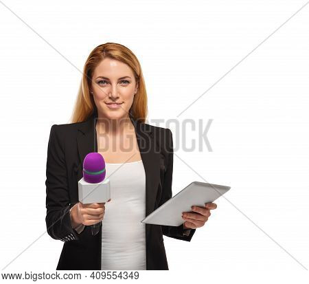 A Woman Reporter Is Holding A Microphone. The Tv Presenter With A Microphone Is Ready For An Intervi