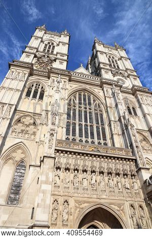 London Landmarks. Westminster Abbey, London. Gothic Abbey Church In The City Of Westminster.