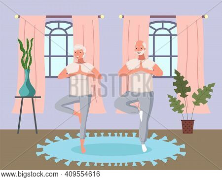 Elderly People Doing Yoga Exercises In Different Poses Together At Home. Healthy Active Lifestyle Re