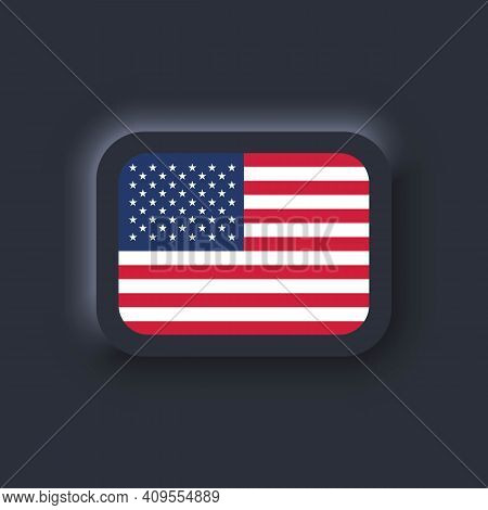 Flag Of United States. National Usa Flag. American Symbol. Vector. Simple Icons With Flags. Neumorph