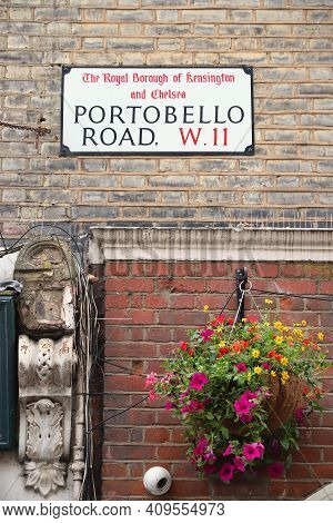 London, Uk - July 14, 2019: Portobello Road Sign In Notting Hill District, London, Uk. London Is The