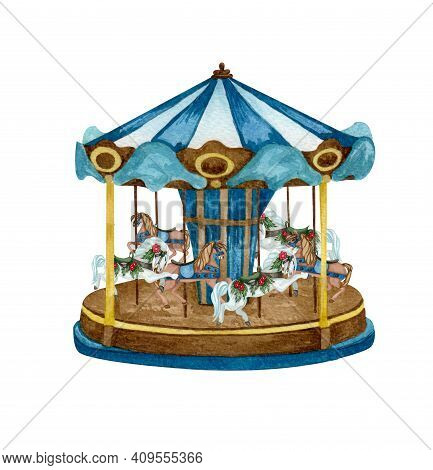 Watercolor Old Carousel Illustration. Christmas Market. Hand Drawn Round Attraction In Blue Color. W