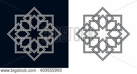 Islamic Traditional Rosette For Greetings Cards Decoration And Design On Black And White Backgrounds