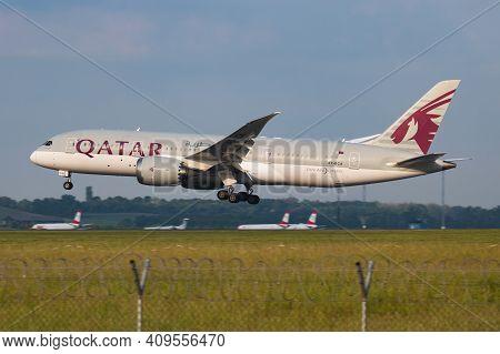 Vienna, Austria - May 13, 2018: Qatar Airways Boeing 787-8 Dreamliner A7-bca Passenger Plane Arrival