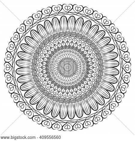 Mandala Antistress. Beautiful Doodle Mandala. Islam, Arabic, Indian, Ottoman Motifs. Zen Art Style I