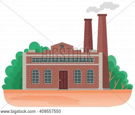 Mills And Factories Polluting Environment. Industrial Structures With Pipes And Smoke With Gray Clou