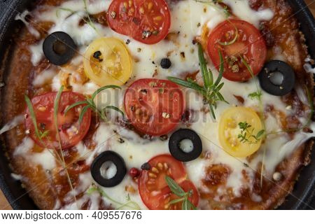 Low Carb Keto Diet Pizza With Mozzarella And Tomato Crust With Cheese Filling. Low Carb Keto Diet Ca