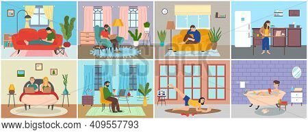 Set Of People At Home In Various Situations, People Relax, Do Household Chores And Correspondence Su