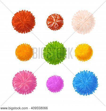 Realistic Detailed 3d Colorful Pom Poms Set Decorative Element Pompom. Vector Illustration Of Fluffy