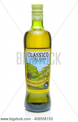 IRVINE, CA - JANUARY 4, 2018: Classico Mediterranean Blend Extra Virgin Olive Oil. The oil is a blend of green and ripe olives.