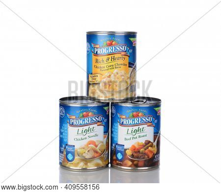 IRVINE, CA - January 05, 2014: Three cans of Progresso Soups. Soups include Light Chicken Noodle, Light Beef Pot Roast and Rich and Hearty Chicken Corn Chowder.