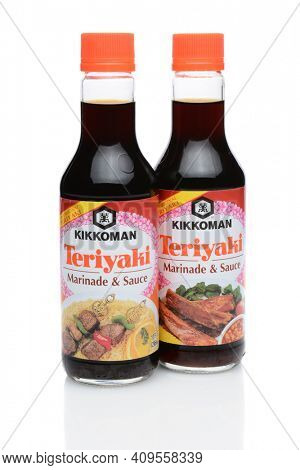 IRVINE, CA - DECEMBER 29, 2014: Two 10 ounce bottles of Kikkoman Teriyaki Marinade and Sauce. Since 1961 Kikkoman has been a leader with their teriyaki flavored blend of soy sauce and spices.