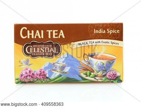 IRVINE, CA - SEPTEMBER 08, 2014: A box of Celestial Seasonings Chai Tea. Based in Boulder, Colorado, specializing in herbal teas (infusions), but also sell green, white, chai, and black teas.